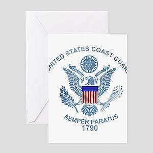 USCG Flag Emblem Greeting Card