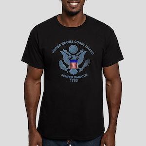 USCG Flag Emblem Men's Fitted T-Shirt (dark)