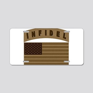 Desert US Infidel Patch Aluminum License Plate