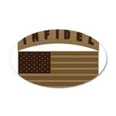 Desert US Infidel Patch 22x14 Oval Wall Peel