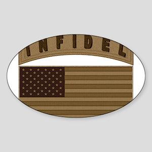 Desert US Infidel Patch Sticker (Oval)