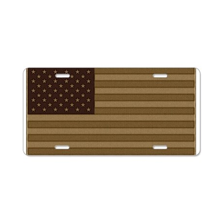 US Flag Desert Patch Aluminum License Plate
