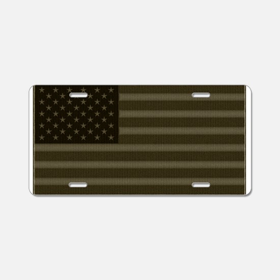 US Flag OD Patch Aluminum License Plate