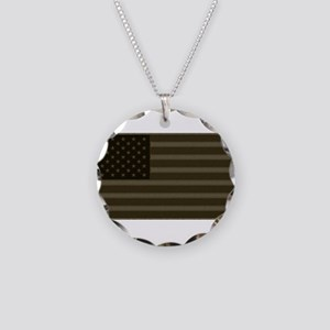 US Flag OD Patch Necklace Circle Charm