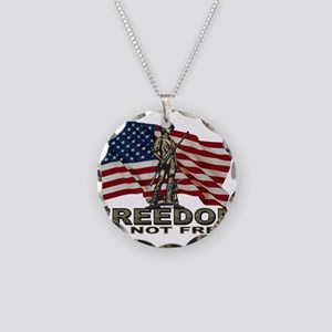 FREEDOM NOT FREE Necklace Circle Charm