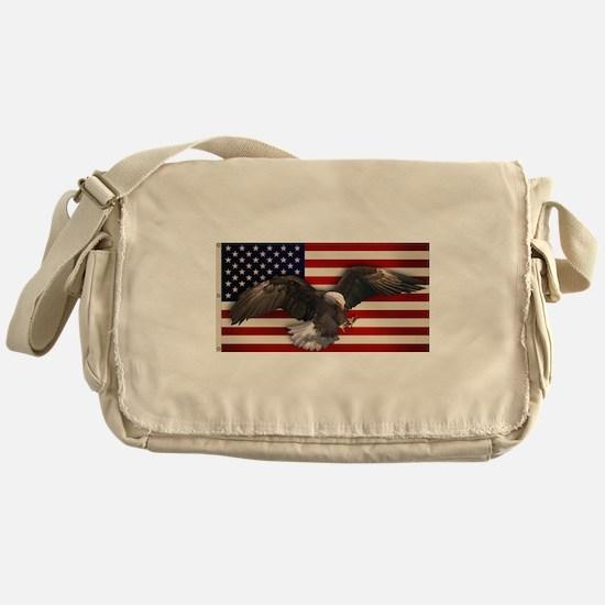 American Flag w/Eagle Messenger Bag