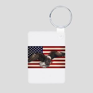 American Flag w/Eagle Aluminum Photo Keychain