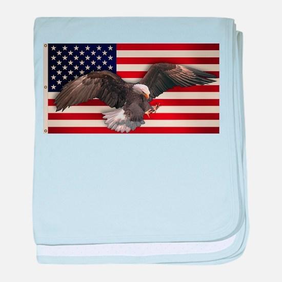 American Flag w/Eagle baby blanket