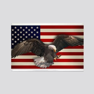 American Flag w/Eagle Rectangle Magnet