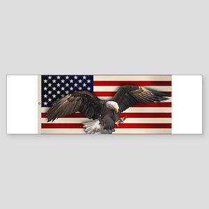 American Flag w/Eagle Sticker (Bumper)