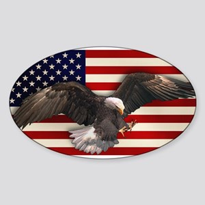 American Flag w/Eagle Sticker (Oval)