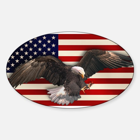 American Flag w/Eagle Sticker (Oval)