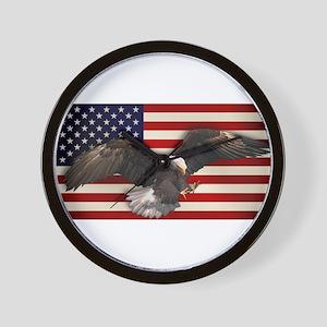 American Flag w/Eagle Wall Clock