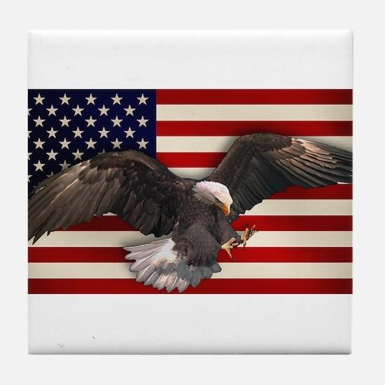 American Flag w/Eagle Tile Coaster