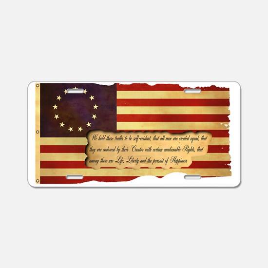 Old Glory Aluminum License Plate