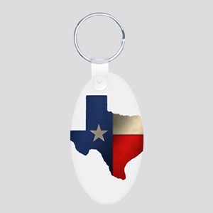 State of Texas Aluminum Oval Keychain