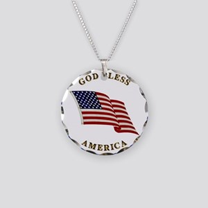 God Bless America Necklace Circle Charm