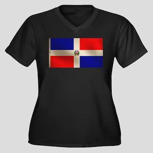 Dominican Flag Women's Plus Size V-Neck Dark T-Shi