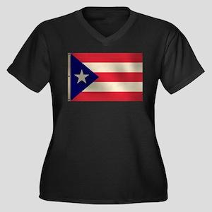 Puerto Rican Flag Women's Plus Size V-Neck Dark T-