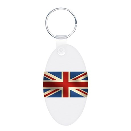 British Flag Aluminum Oval Keychain
