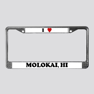 I Love Molokai License Plate Frame