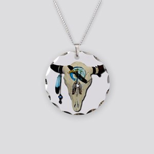 Steer Skull Necklace Circle Charm