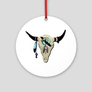 Steer Skull Ornament (Round)
