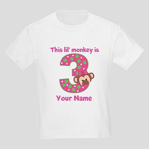 3rd Birthday Girl Monkey Kids Light T-Shirt