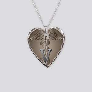 Veterinary Caduceus Necklace Heart Charm
