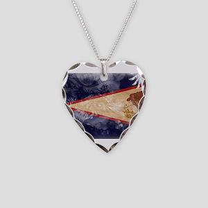 American Samoa Flag Necklace Heart Charm
