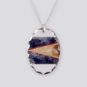 American Samoa Flag Necklace Oval Charm