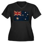 Australia Flag Women's Plus Size V-Neck Dark T-Shi