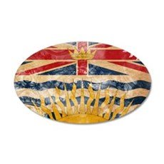 British Columbia Flag 22x14 Oval Wall Peel