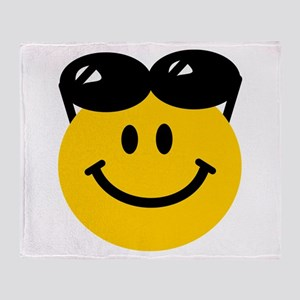 Perched Sunglasses Smiley Throw Blanket