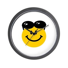 Perched Sunglasses Smiley Wall Clock