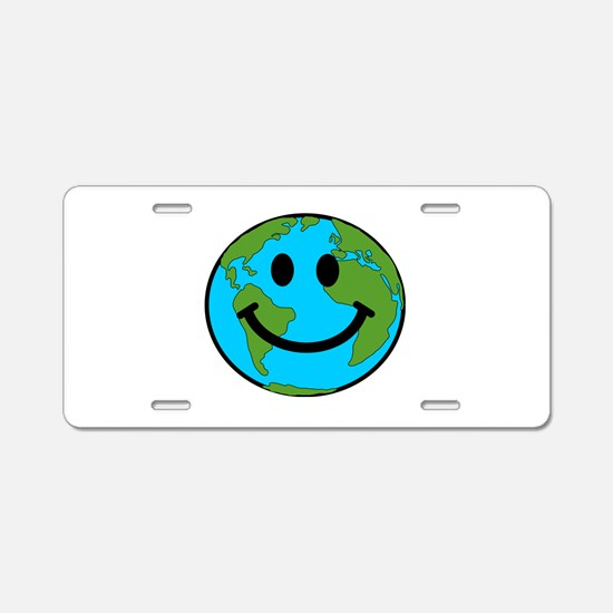 Smiling Earth Smiley Aluminum License Plate