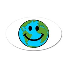 Smiling Earth Smiley 22x14 Oval Wall Peel