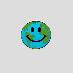 Smiling Earth Smiley Mini Button