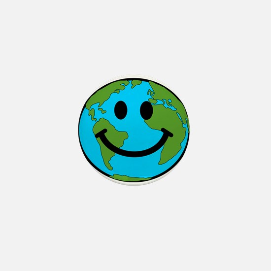 Smiling Earth Smiley Mini Button