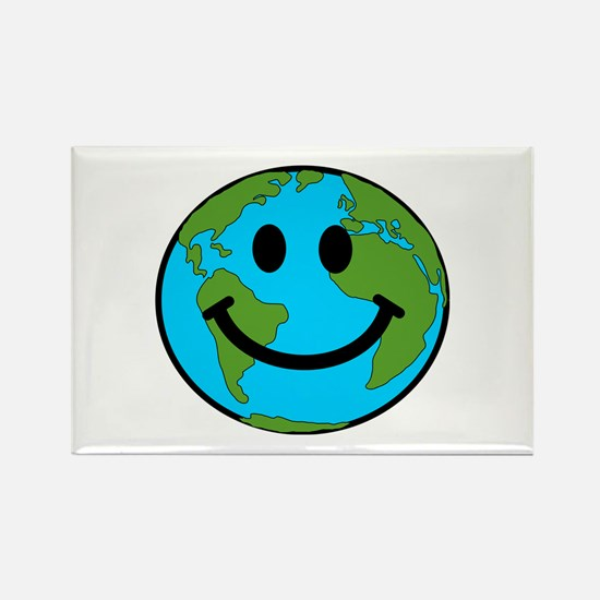 Smiling Earth Smiley Rectangle Magnet (100 pack)
