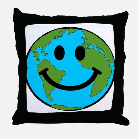 Smiling Earth Smiley Throw Pillow