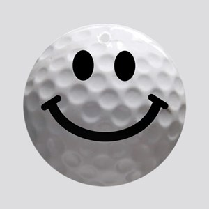 Golf Ball Smiley Ornament (Round)