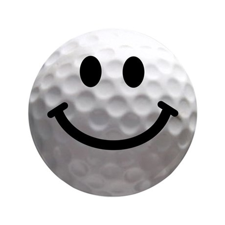 "Golf Ball Smiley 3.5"" Button"