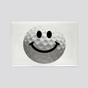 Golf Ball Smiley Rectangle Magnet