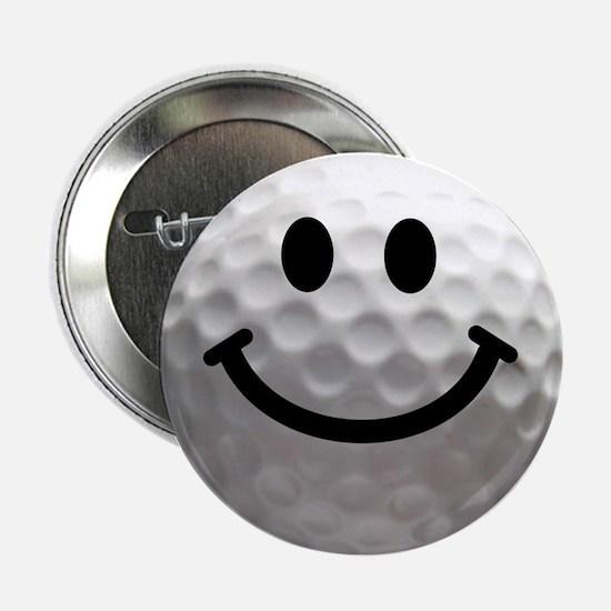 """Golf Ball Smiley 2.25"""" Button"""