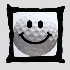 Golf Ball Smiley Throw Pillow