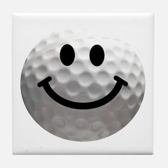 Golf Ball Smiley Tile Coaster