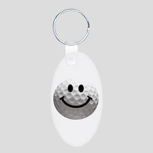 Golf Ball Smiley Aluminum Oval Keychain