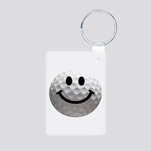 Golf Ball Smiley Aluminum Photo Keychain