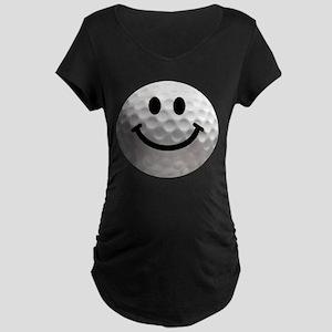 Golf Ball Smiley Maternity Dark T-Shirt
